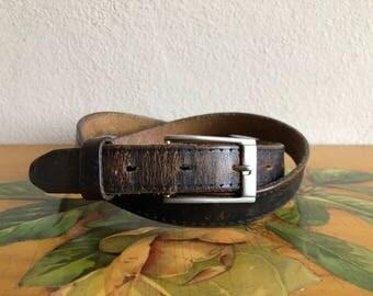 Leather Belt Vintage Distressed Brown Black