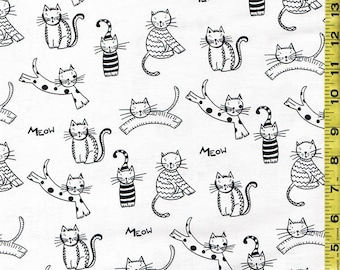 Novelty Quilting Sewing Fabric -  Ink & Arrow Cat's Meow - Cats with Dots and Stripes - Black and White