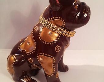 "Statue ceramic Bulldog, ""Little Brownie"" unique, Laure Terrier"