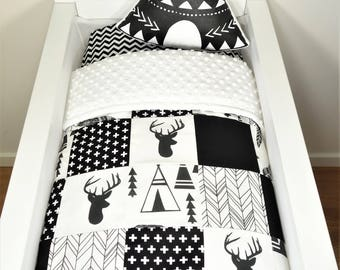 Bassinet/pram items or set - Black and white, deer, teepee, arrow patchwork