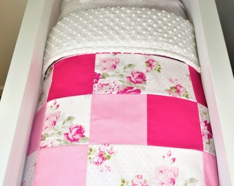 Shade of pink and white bassinet quilt, bassinet fitted sheet and elephant pillow