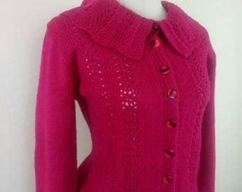1940s Fuchsia Cardigan jacket handknitted Large collar
