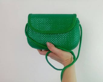 Vintage 60s green rafia crossbody straw bag made in Italy