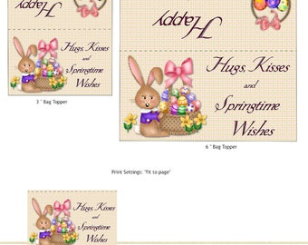 PRINT YOUR OWN Easter Kisses Bag Toppers