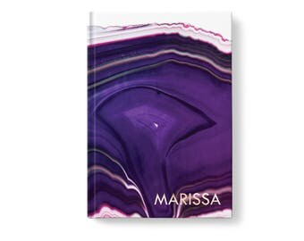 Marbled Stone Personalized Journal, Purple Marble Stone Pattern, Personalized Journals for Women, Gift jn0010