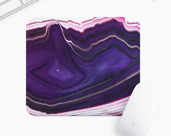 Marble Stone Mouse Pad, Purple Stone Mousepad, Rectangle or Round Circular, Gift mp0010