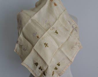 Antique 1920s 1930s Chinese Silk Handkerchief