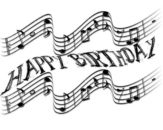 Musical Notes Band Happy Birthday - Edible Cake and Cupcake Topper For Birthday's and Parties! - D22862