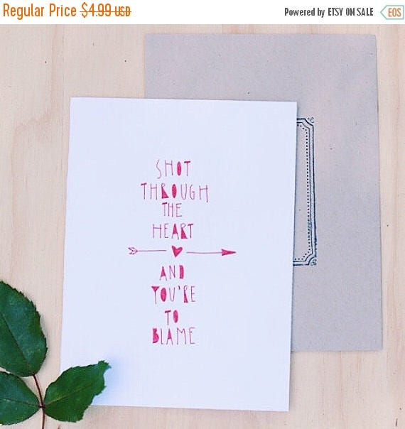 ON SALE Funny Valentine's Day card, anniversary card, hand lettered Bon Jovi quote, hipster valentine