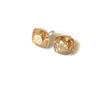 Crystal Stud earrings, Golden shadow crystal earrings, 10mm Earring Studs