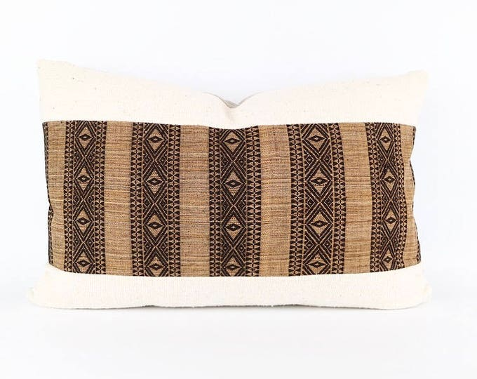 African Mudcloth And Embroidered Indonesian Textile Lumbar Pillow Cover 16x24