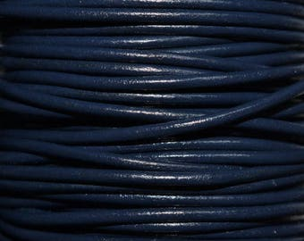 Navy Blue / 1mm Leather Cord / leather by the yard / round leather cord / genuine leather / necklace cord / bracelet cord
