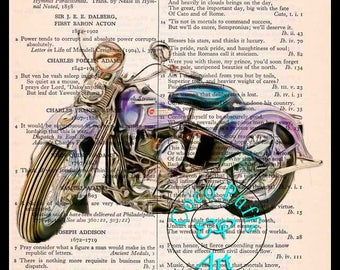 1948 Purple Flathead HD Motorcycle Art Beautifully Upcycled Vintage Dictionary Page Book Art Print, Drawing