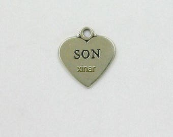 Sterling Silver Engravable Son Heart Charm