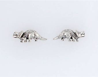 Sterling Silver Triceratops Post or Stud Earrings
