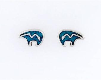 Sterling Silver Turquoise Heartline Bear Post or Stud Earrings