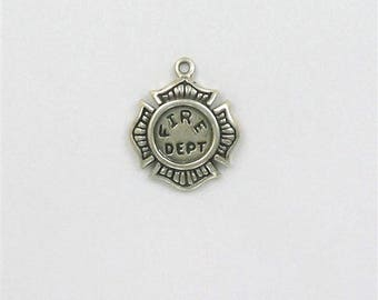 Sterling Silver Fireman's Shield Charm