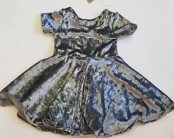 Grey velvet circle dress, toddler velvet circle dress, grey baby velvet dress, silver velvet dress, velvet baby dress, velvet baby  clothes