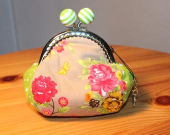 RETRO colorful spring flowers purse