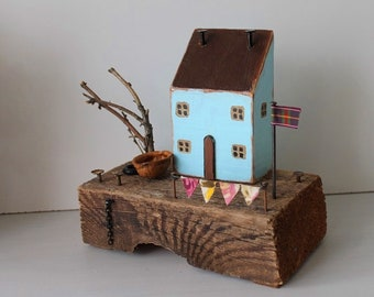 Blue house, Beach Treasure, Reclaimed wood art, Driftwood Cottage, Mint Fisherman's Cottage, Driftwood House
