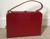 Vintage Bagcraft Red Leather Handbag 1950s Kelly Bag Designer Bag