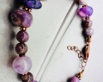 """Charoite Stone Bracelet 6 3/4""""-7 3/4"""""""
