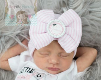 NICU Graduate Hospital Hat - Preemie Baby Hat - Preemie Girls Bow Hat - Large Bow Hat - Coming Home Hat - Baby Shower Gift - Pink And White