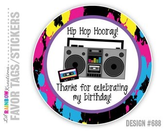 FVTAGS-688: DIY - Hip Hop Hooray Favor Tags Or Stickers