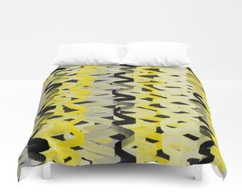 duvet cover bedding comforter cover twin queen king abstract black grey yellow