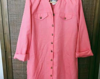 1970's Vintage 'Brownstone Studio New York' Salmon Pink Tunic Mid Length Gold Button Shirt Dress Size 12