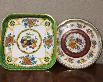 Set of 2 Vintage Daher  Tin Trays- Made In England (no barcodes)