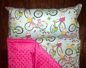 """Personalized Preschool / Kinder Nap Mat in Bicycle Dog fabric with removable Pillow, Minky Blanket and 1"""" memory foam"""