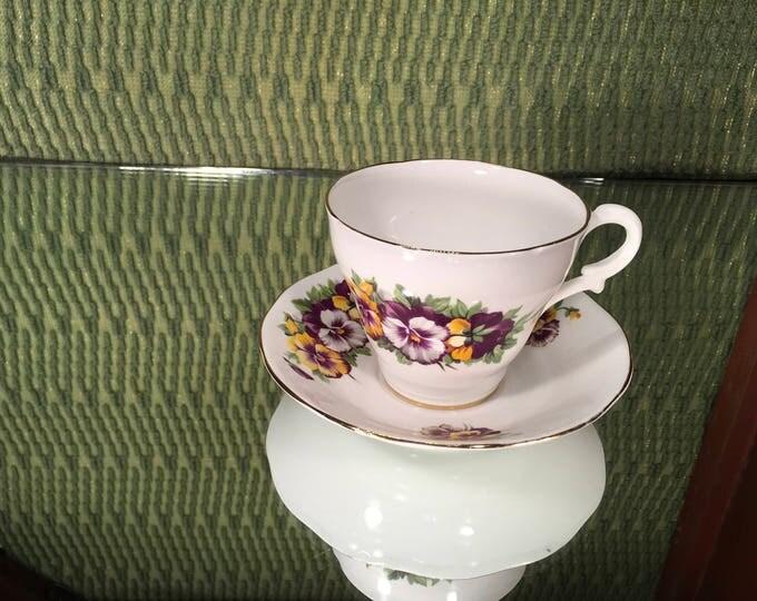Royal York Pansy Tea Cup and Saucer Set, English