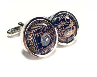 Circuit Board Cufflinks, Rhodium Plated, Steampunk Cufflinks, Men's Gift, Computer Chip, Electronic, Accessory, Eco, Recycled, Motherboard.