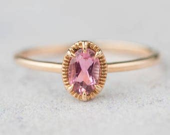 14k pink tourmaline unique engagement ring, 14k rose gold alternative engagement ring, antique inspired engagement ring, ado-r105-ptou