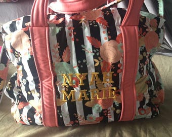 Gold Flower Stripe Diaper Bag with Wipe Case