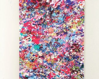 SALE Abstract Canvas Art Splatter Painting Large Colorful Art Pink Red Blue Art OOAK Painting Original Pink Art Acrylic Painting 18x24 canva