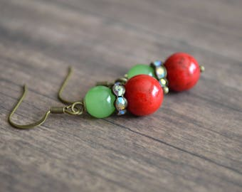 Red And Green Earrings. Stone Earrings. Vintage Earrings. Bohemian Earrings. Christmas Earrings. Gift For Women. Gift Under 20 Dollar. Boho.