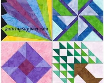 HC Fun Set of 4  Template Quilting Block Patterns Set 1 PDF