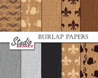 80% OFF - LIMITED TIME - Burlap Digital Paper, Fleur de Lis and Hedera Ornaments, Natural Colors, Brown and Grey Burlap Backgrounds, Textile