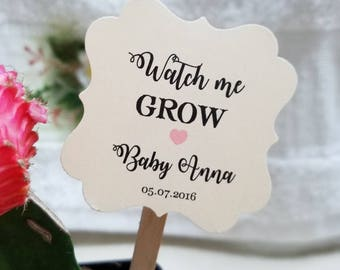 """Personalized Favor Tags with stick 2x2"""", tags, Thank You tags, Favor tags, baby Shower, let love grow, watch me grow,  (oneside only)"""