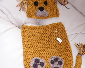 GORGEOUS Hand-crocheted lion hat and cocoon set Newborn size