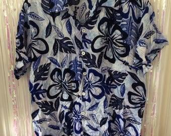 Blue washed Hawaiian style floral rayon shirt XL
