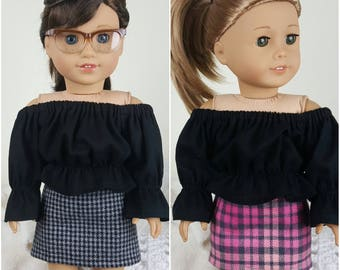 18 inch doll skirts | pink plaid skirt | gray and black houndstooth skirt