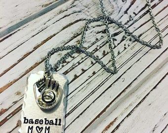 Baseball mom handstamped necklace