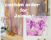 "Custom 36"" x 48"" White, Orchid, Grays, Silvers and touch of Copper covered in high gloss epoxy resin"