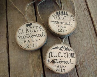 "National Park Christmas Ornaments 1.25"" Vacation Memory Gift / Yellowstone Yosemite Glacier Smoky Rocky Mountains Grand Canyon Zion Olympic"