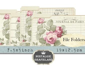 File Folders digital Papers printable Organizing Organization Paris Vintage Journal Roses 7.5 x 5 inch Download digital collage sheet J115