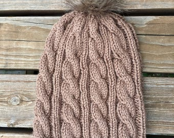 Cable Knit Winter Hat, faux fur pom pom, brown knit hat, beanie