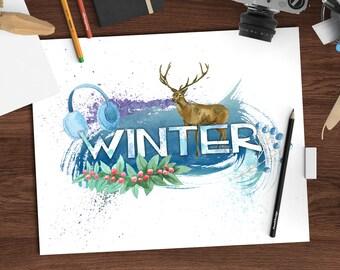 Watercolor winter decor, seasons watercolor print, 8x10 printable art download, seasonal art, digital watercolor print, jpeg + png